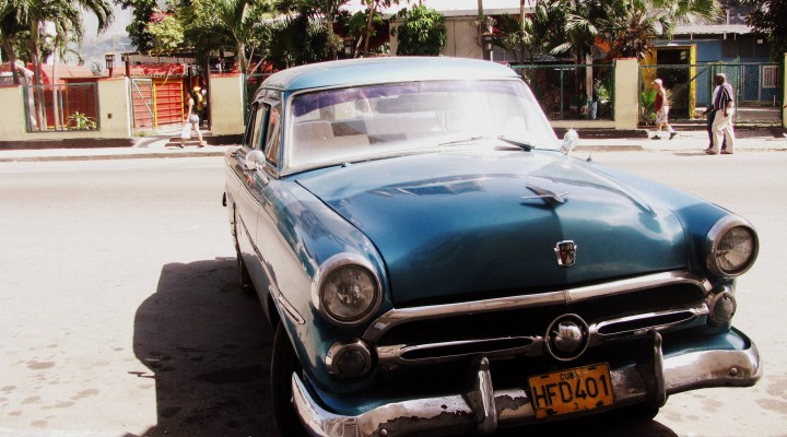 "Ford from 1950s. Vintage cars are called in Cuba ""almendrones""."