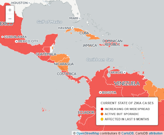 Current state of Zika cases