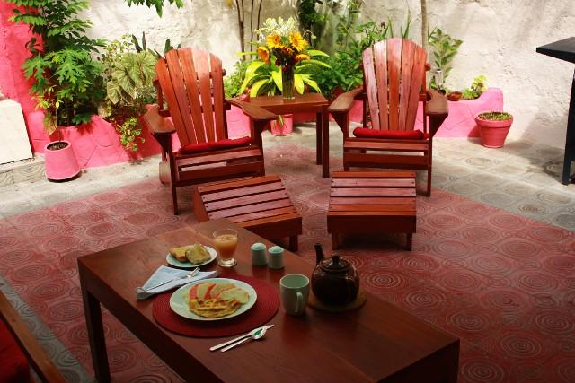 Breakfast on the terrace at Casa Liñales in Holguín, Cuba.
