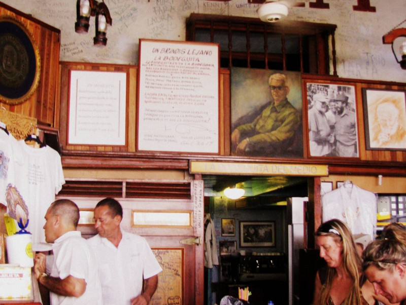 La Bodeguita del Medio. Interiors of the emblematic bar in the centre of Old Havana, Cuba.